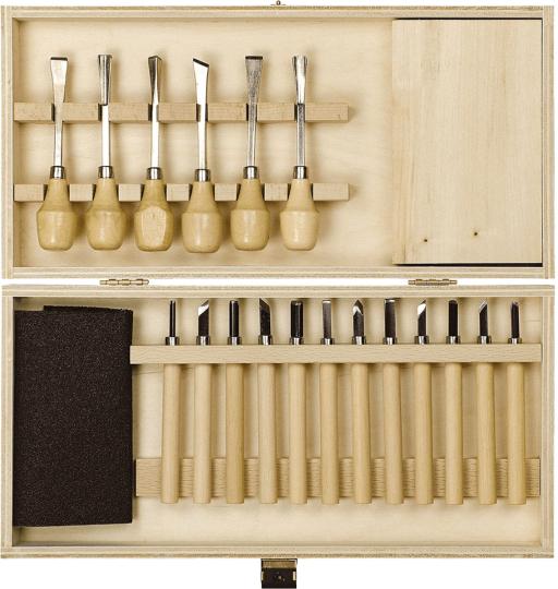Schnitz-Set in Holzbox.