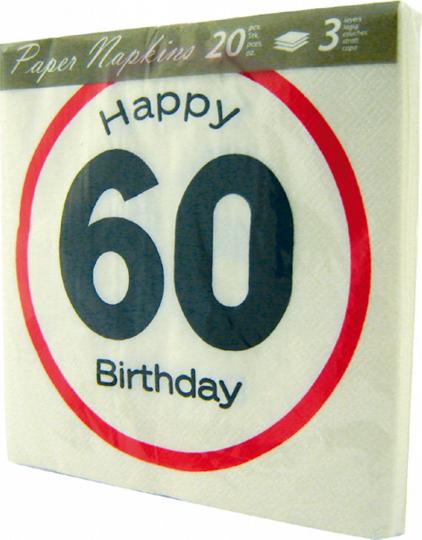 Servietten Achtung 60 - Happy Birthday