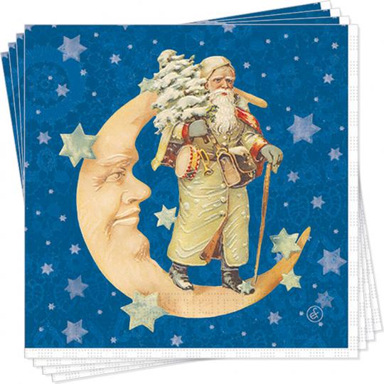 Servietten »Weihnachtsmann im Mond«.