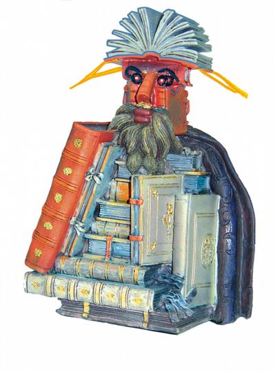 Skulptur nach einem Gemälde von Arcimboldo »Der Bibliothekar'.
