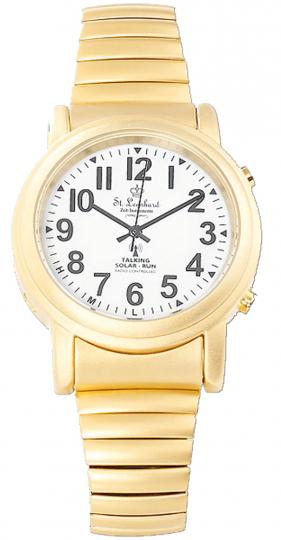 Sprechende Senioren-Uhr - Gold mit Funk und Solar