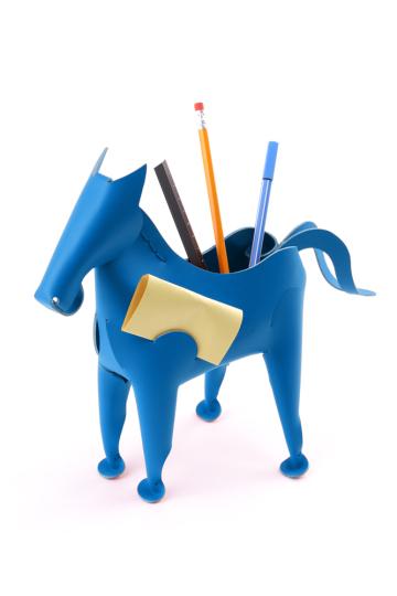 Stift- und Zettelhalter Pferd, blau.