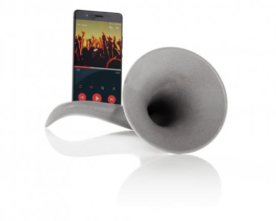 Stromloser Verstärker für Musik »Horn«, grau.