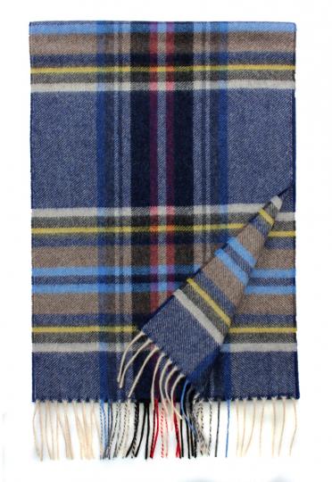Tartan-Schal aus Kaschmir, blau kariert.