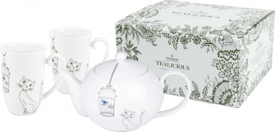 Tee-Set »Katzen & Vögel«.