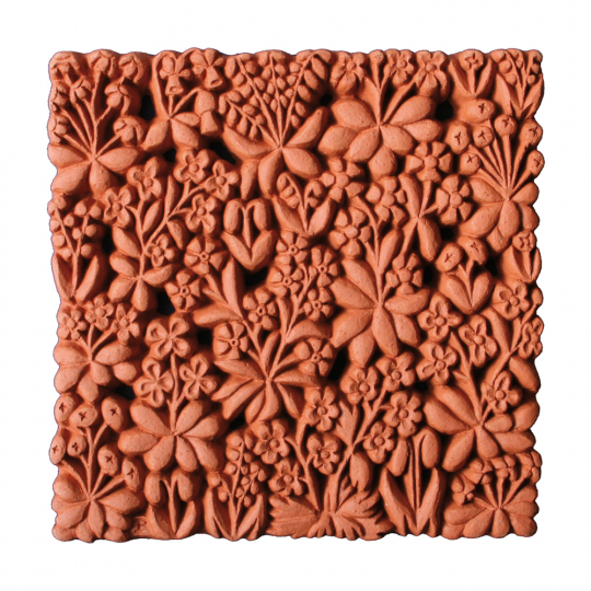 Terracotta Wandfliese »Blumengarten«.