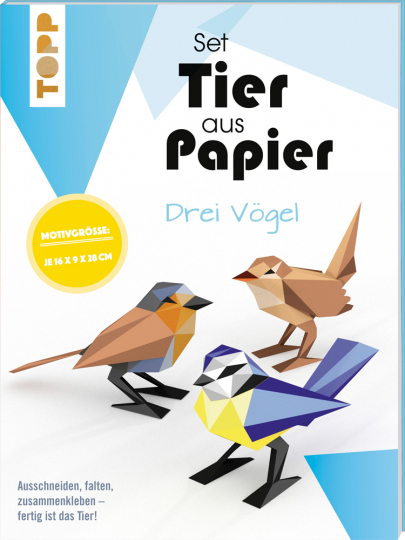 Tier aus Papier. Drei Vögel. Bastel-Set.