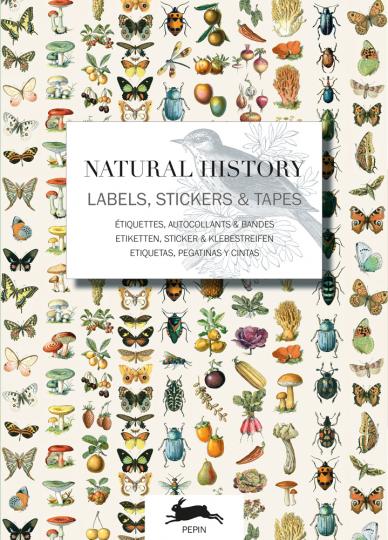 Tier- und Pflanzendarstellungen. Sticker und Etiketten.