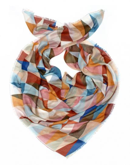 Tuch »Grafisches Muster«, rostrot/blau.