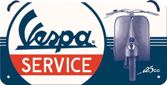 Hängeschild »Vespa Service«.