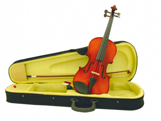 Violine mit Bogen und Koffer