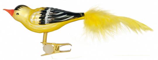 Vogel Stieglitz mit Federn und Clip.
