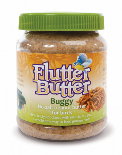 Vogelfutter im Glas »Flutter Butter Buggy mit Mehlwürmern«.