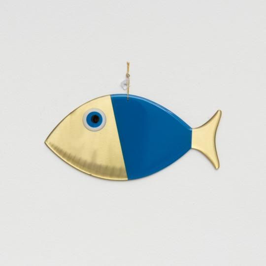 Wanddeko-Fisch aus Bronze, blau, Gr. L.