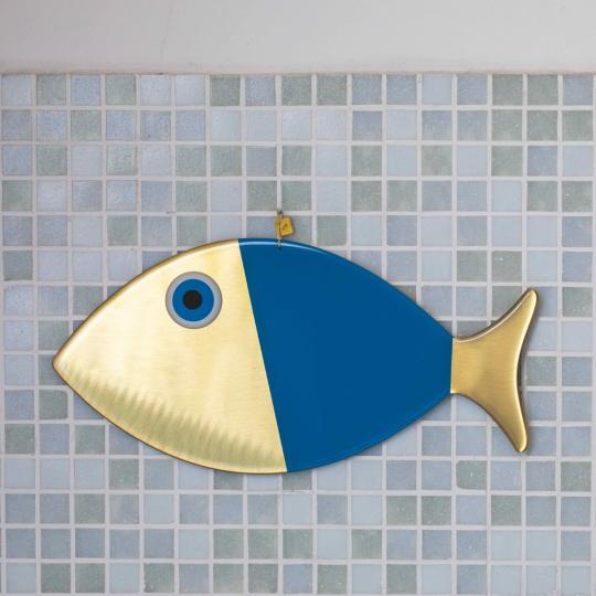 Wanddeko-Fisch aus Bronze, blau, Gr. XL.
