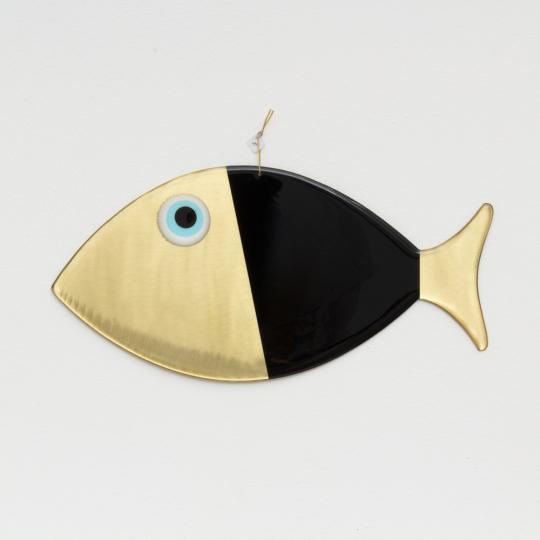 Wanddeko-Fisch aus Bronze, schwarz, Gr. XL.