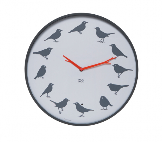 Wanduhr »Ultraflach« mit 12 Vogelstimmen, grau.