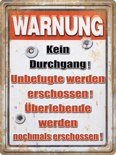 Warnung: Kein Durchgang!