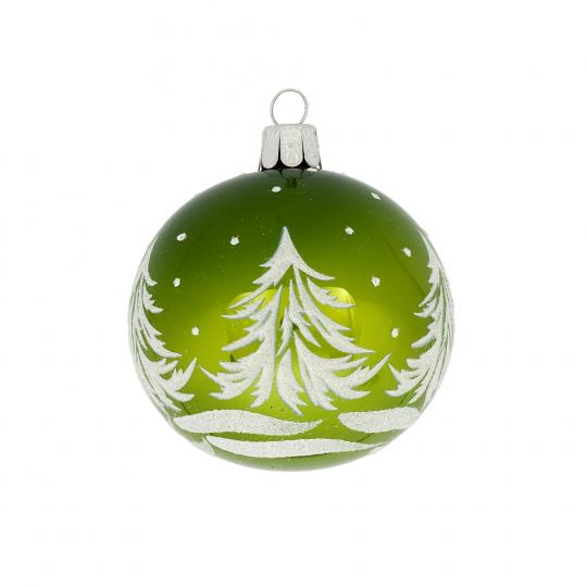 Weihnachtskugel »Tannenbäume«, grün.