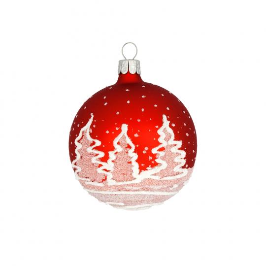 Weihnachtskugel »Tannenbäume«, rot.