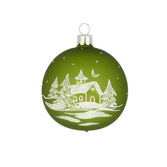 Weihnachtskugel »Winterlandschaft«, grün.
