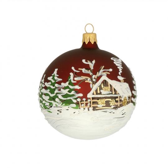 Weihnachtskugel »Winterwelt«, weinrot.