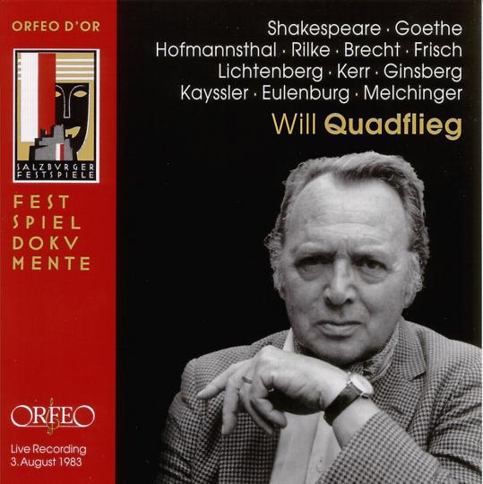 Will Quadflieg. Der Schauspieler im Spiegel der Dichtung. CD.