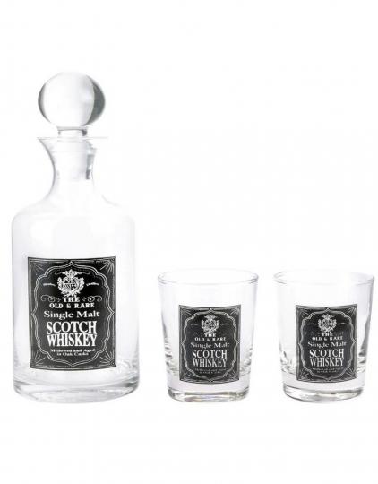 Whisky-Set mit Karaffe und 2 Gläsern.
