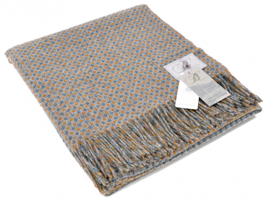 Wolldecke »Punkte«, Orange-Gold/Wasserblau auf Grau.