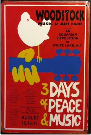 Blechschild »Woodstock«.