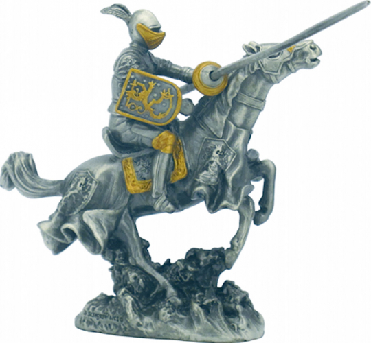 Zinnritter auf Pferd mit Lanze - Ritter mit Löwensymbol