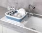 Faltbares Geschirrabtropfgestell, weiß/blau. Bild 1