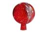 Glaskugel für den Garten, rot und bunt getupft. Bild 1