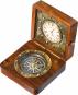 Kompass mit Uhr in Holzbox Bild 1