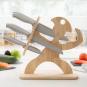 Messer-Set mit Holzhalterung. Bild 1