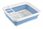 Faltbares Geschirrabtropfgestell, weiß/blau. Bild 3