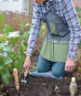 Gartenschürze mit Fächern, grau/olivgrün. Bild 3