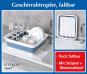 Faltbares Geschirrabtropfgestell, weiß/blau. Bild 4